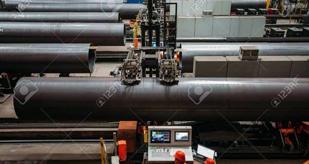Steel pipe internal seam welding by longitudinal tack welding machine